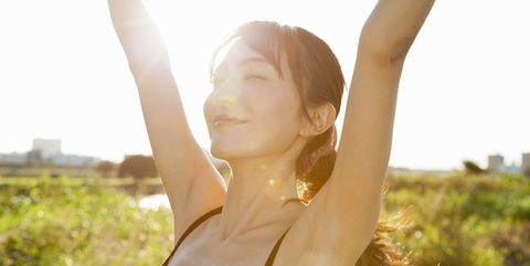 Hairstyle, Photograph, Mammal, Happy, People in nature, Summer, Sunlight, Light, Beauty, Neck,