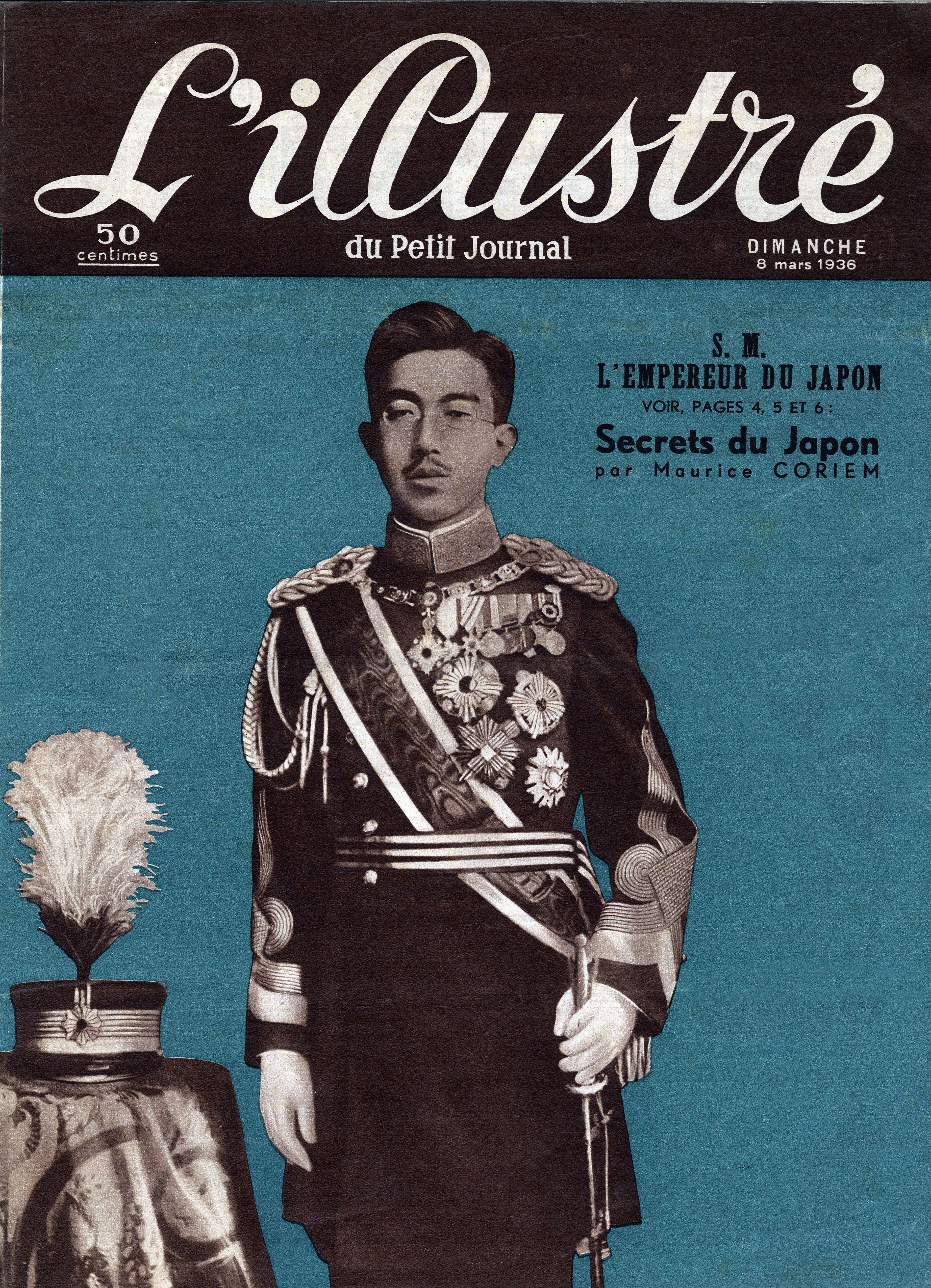 Portrait of Emperor Hirohito of Japan (1901-1989), Frontpage of French newspaper Lillustre du Petit Journal, 1936, Private Collection,