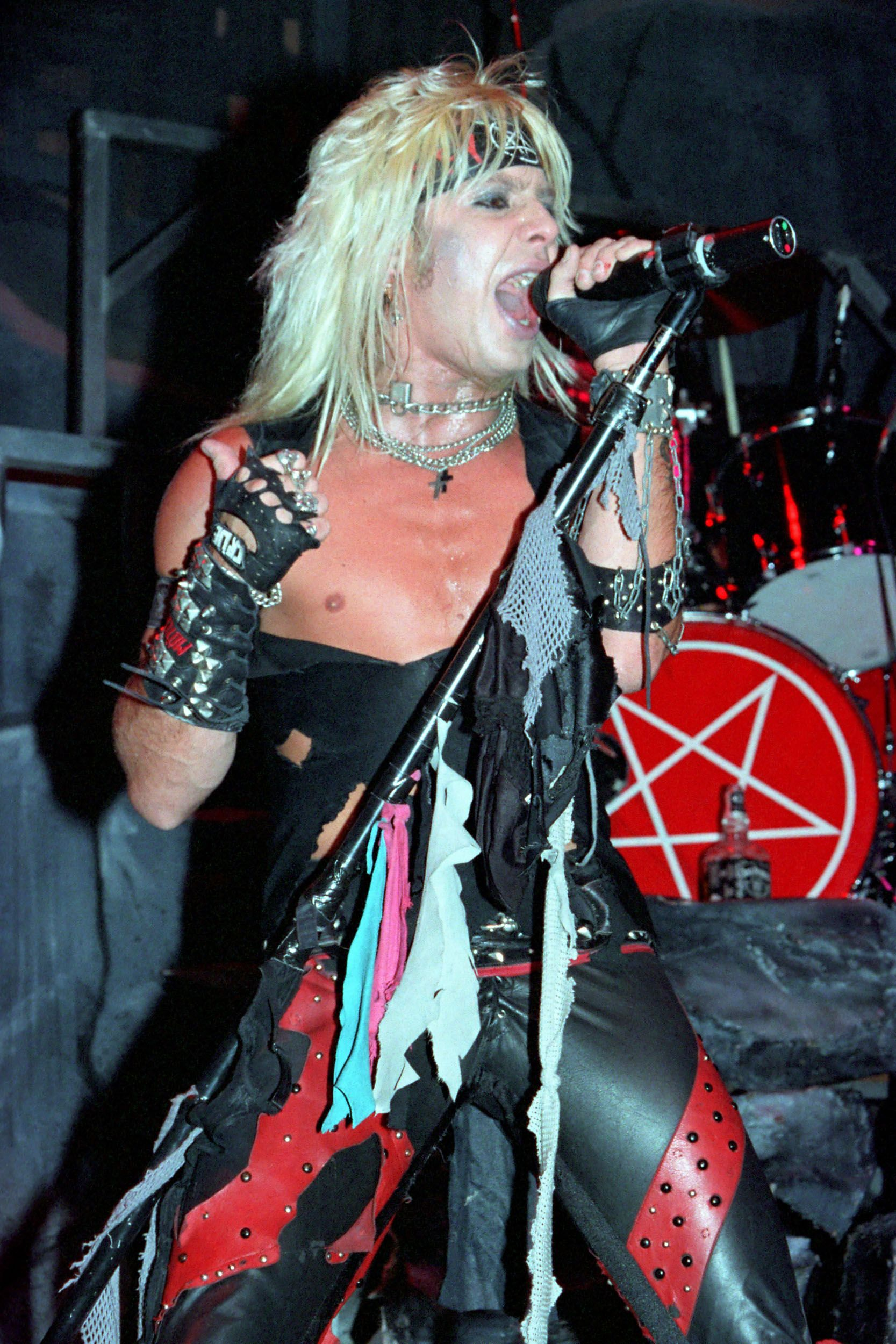 Vince Neil performs at Madison Square Garden during the Shout At The Devil tour on January 15, 1984 in NYC.