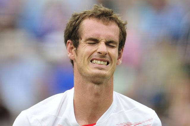 britains andy murray reacts during his mens singles final defeat to switzerlands roger federer on day 13 of the 2012 wimbledon championships tennis tournament at the all england tennis club in wimbledon, southwest london, on july 8, 2012 afp photo  glyn kirk     restricted to editorial use        photo credit should read glyn kirkafpgettyimages