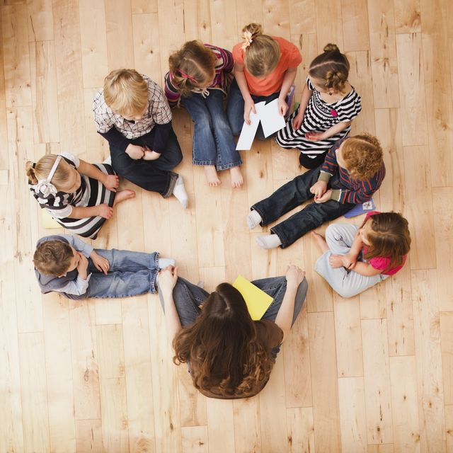 children 2, 3, 4 and 5 sitting in circle around teacher, directly above