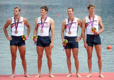 windsor, england   august 04  scott gault, charles cole, henrik rummel and glenn ochal of the united states celebrate with their bronze medals during the medal ceremony for the mens four final on day 8 of the london 2012 olympic games at eton dorney on august 4, 2012 in windsor, england  photo by harry howgetty images