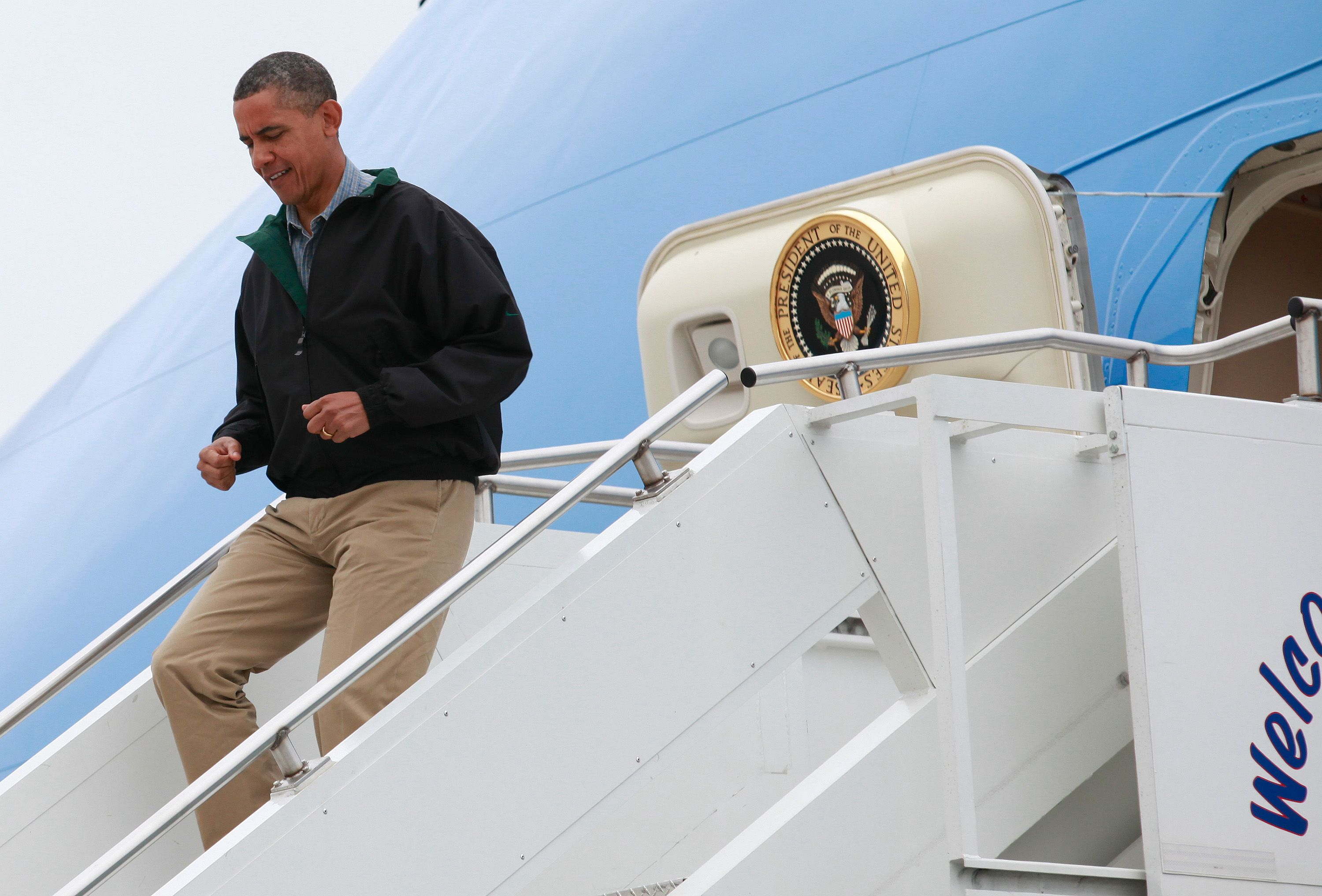 Obama arrives at at Offutt Air Force Base in Omaha, Nebraska, on August 13, 2012.