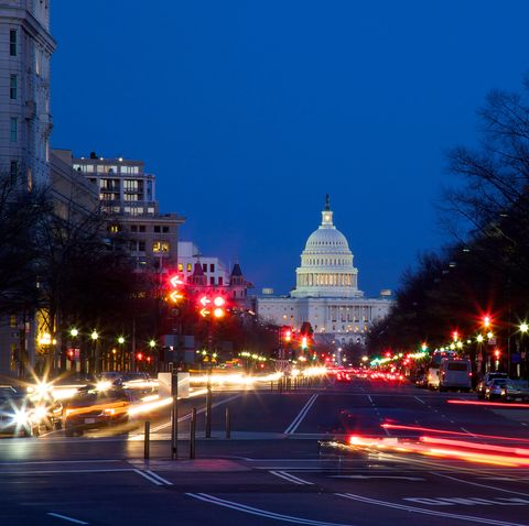 traffic and city lights along pennsylvania avenue in washington, dc
