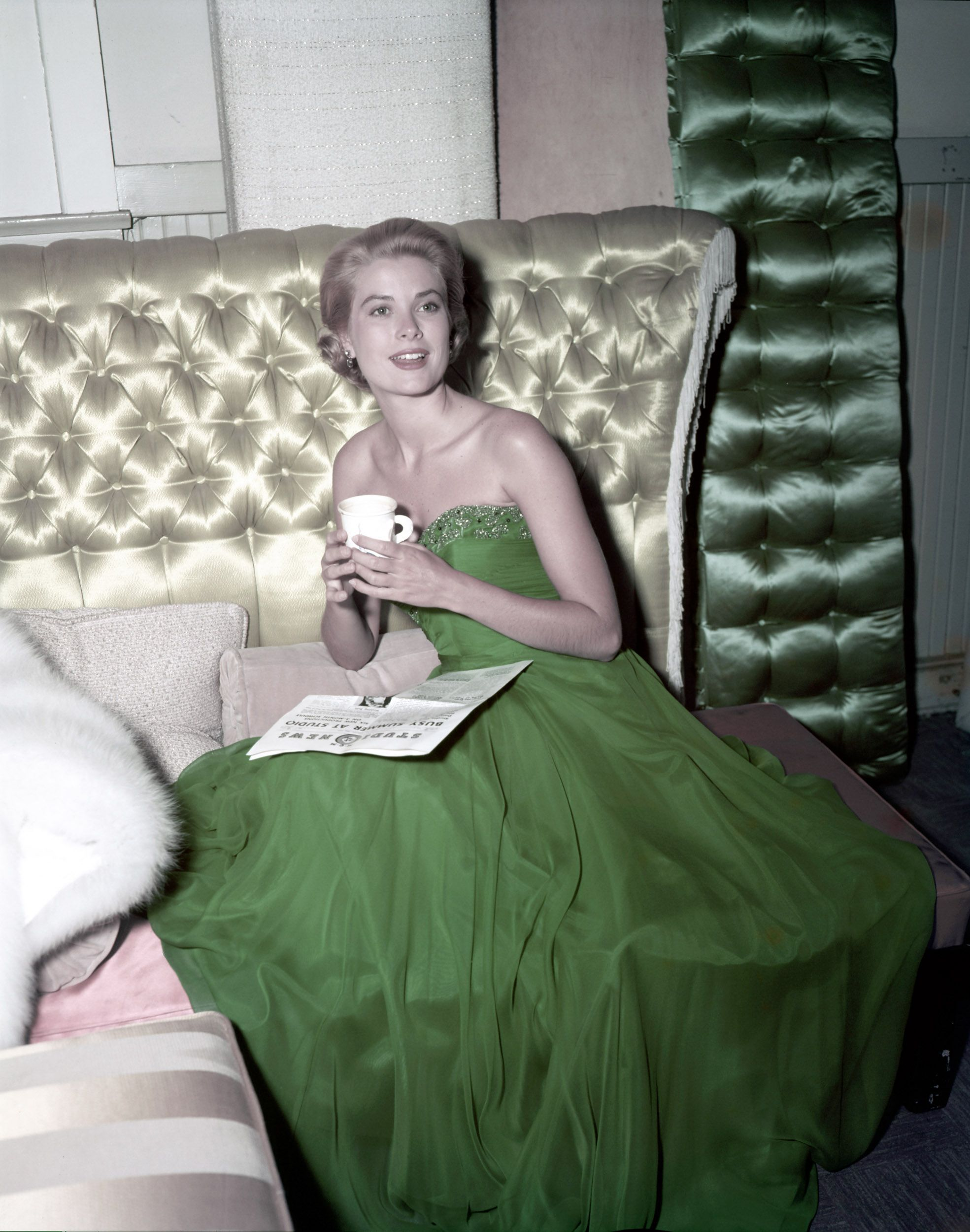 Grace Kelly wearing a green dress for St. Patrick's Day in 1954.