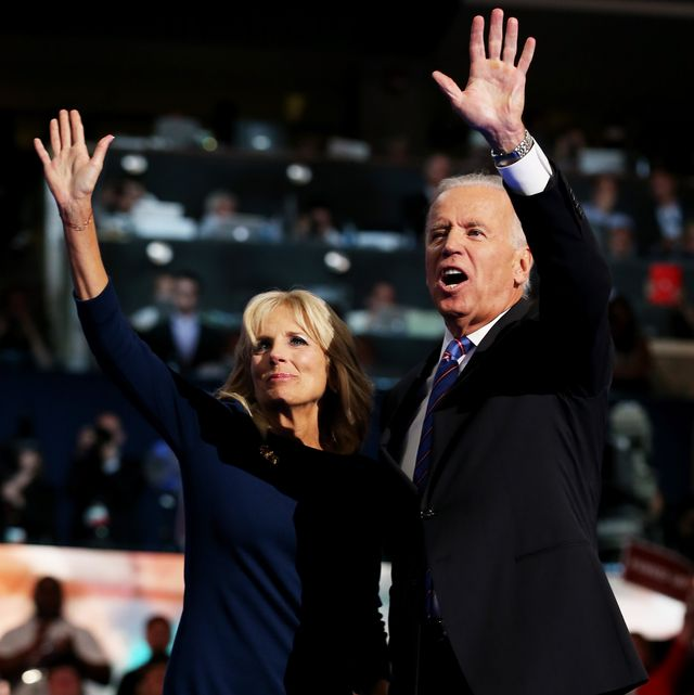charlotte, nc   september 06  democratic vice presidential candidate, us vice president joe biden waves with his wife second lady dr jill biden after speaking on stage during the final day of the democratic national convention at time warner cable arena on september 6, 2012 in charlotte, north carolina the dnc, which concludes today, nominated us president barack obama as the democratic presidential candidate  photo by chip somodevillagetty images