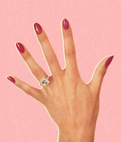 Finger, Ring, Hand, Nail, Pink, Skin, Engagement ring, Jewellery, Fashion accessory, Wedding ring,
