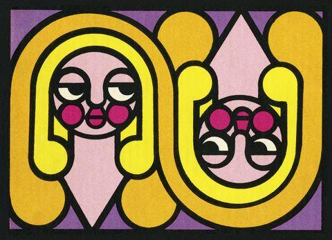Yellow, Visual arts, Font, Art, Illustration, Magenta, Graphic design,