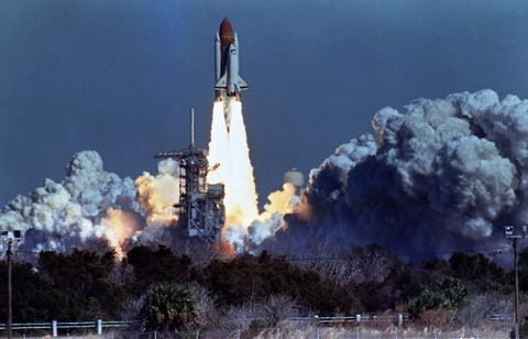 us space shuttle challenger lifts off 28 january 1986 from a launch pad at kennedy space center, 72 seconds before its explosion killing it crew of seven challenger was 72 seconds into its flight, travelling at nearly 2,000 mph at a height of ten miles, when it was suddenly envelope in a red, orange and white fireball as thousands of tons of liquid hydrogen and oxygen fuel exploded afp photo nasa         photo credit should read bob pearsonafp via getty images