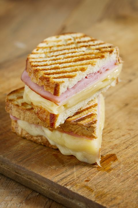 hot off the grill panini sandwiches made with crusty, hand sliced bread, black forest ham and swiss cheese