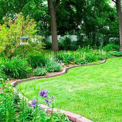 a lush green lawn and beautiful flower beds in a large backyard