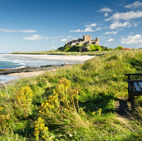 bamburgh castle taken here from the north dates back to the 67th century
