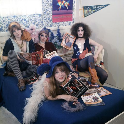 los angeles   january 14  pop group and goupies the gtos girls together outrageously l r miss cynderella, miss sandra, and miss christine, miss pamela is in the front pose for teenset magazine cover on january 14, 1969 in los angeles, california photo by ed caraeffgetty images