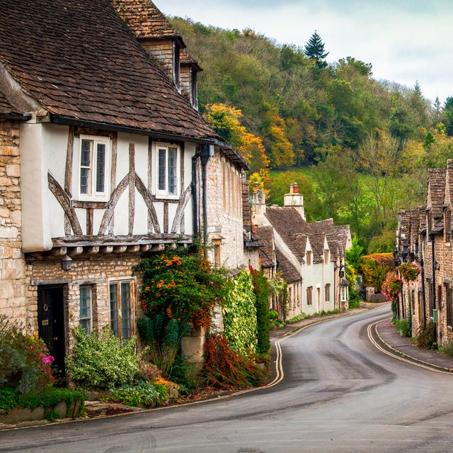 castle combe in the fall, wiltshire, england
