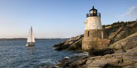 Lighthouse, Sea, Sail, Sailing, Coast, Boat, Sailboat, Rock, Vehicle, Tower,