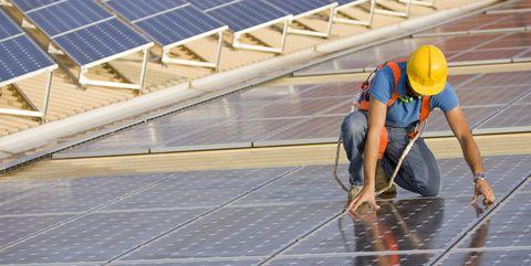 Solar panel, Roof, Technology, Solar power, Line, Solar energy, Headgear, Floor, Window, Composite material,