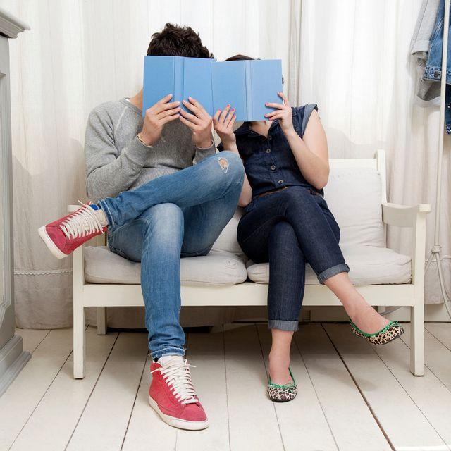 Jeans, Leg, Footwear, Room, Sitting, Furniture, Denim, Textile, Shoe, Comfort,