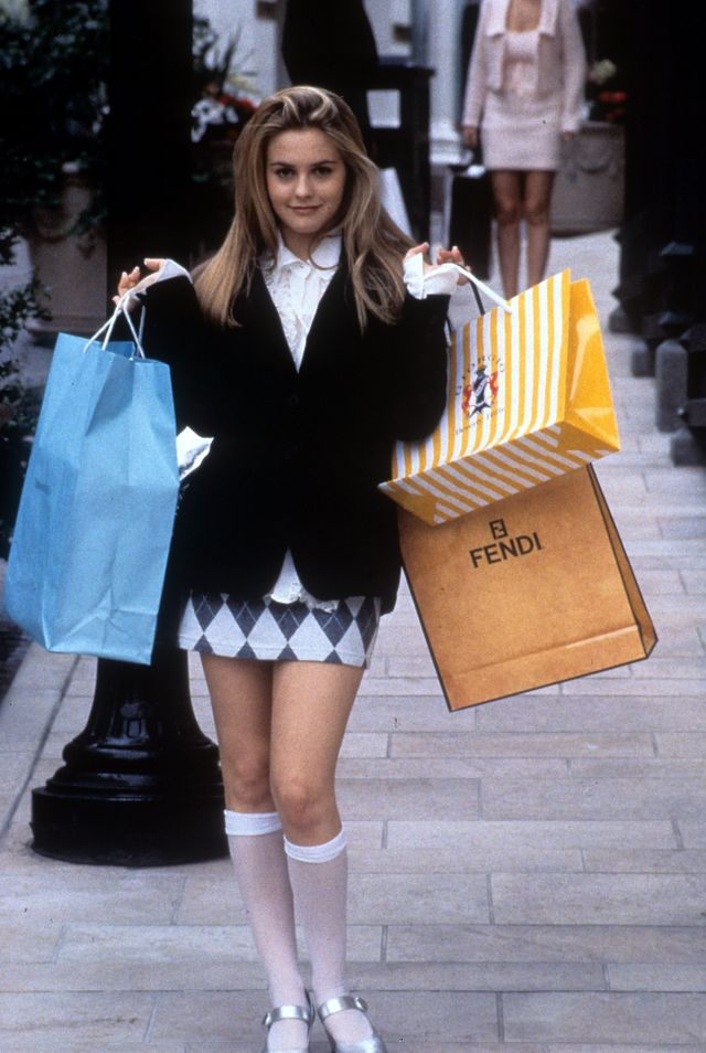 alicia silverstone holding shopping bags in a scene from the film clueless, 1995 photo by paramount picturesgetty images