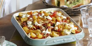 Dish of bacon pasta bake