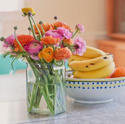 Yellow, Pink, Flower, Cut flowers, Room, Ceramic, Table, Plant, Still life, Floristry,