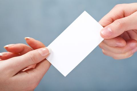 close up of a giving blank business card you can put your text