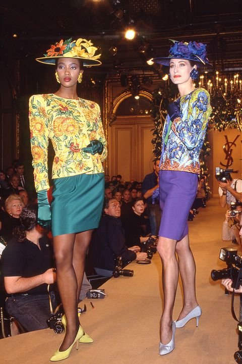 ysl runway 1988  , skirt suit ysl , vincent van gogh