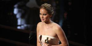 Jennifer Lawrence tijdens de Oscars in 2013