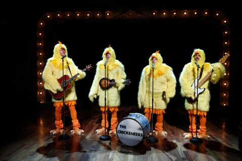 late night with jimmy fallon    episode 808    pictured l r blake shelton, host jimmy fallon, chris tartaro, nick offerman during the chickeneers skit on march 28, 2013    photo by lloyd bishopnbcu photo banknbcuniversal via getty images via getty images
