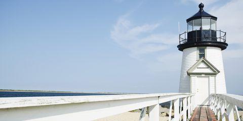 Blue, Daytime, Sky, Tower, Infrastructure, Architecture, Coastal and oceanic landforms, Beacon, Horizon, Landmark,