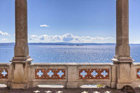 balcony on the sea in miramare castle trieste