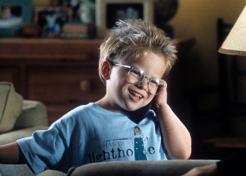 Eyewear, Glasses, Facial expression, Cool, Chin, Smile, Fun, Child, Forehead, Vision care,