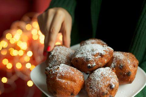 Traditional dutch oliebollen donuts