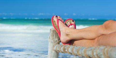 Beach, Vacation, Leg, Sea, Sky, Footwear, Pink, Summer, Ocean, Foot,