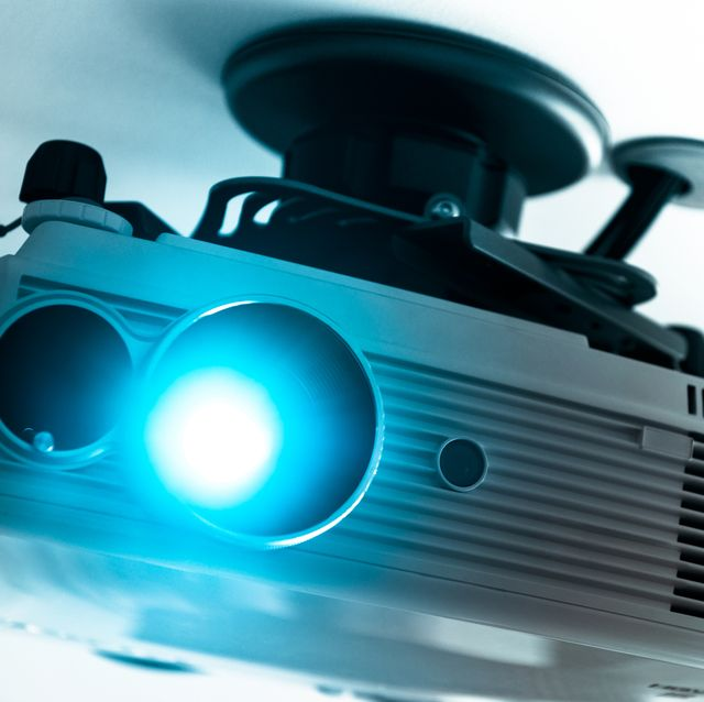 home theatre projector on white ceiling full hd projector