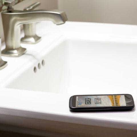 Sink, Tap, Bathroom sink, Plumbing fixture, Bathroom, Room, Material property, Plumbing, Countertop, Scale,