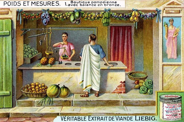 shop in pompeii with bronze balance scale roman city near naples, italy  illustration from liebig collectible card series 'weights and measures' 'poids et mesures'  1 of 6  photo by culture clubgetty images  local caption