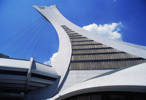 canada   circa 2003 montreal tower, detail from the olympic stadium 1973 1976, designed by roger taillibert born in 1926, montreal, quebec, canada photo by deagostinigetty images
