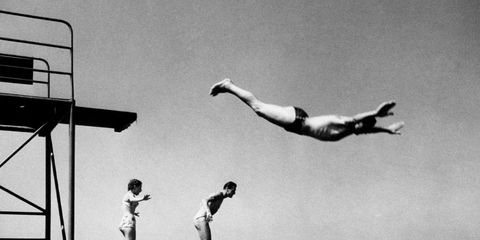 Some Bathers Dive Into The Water