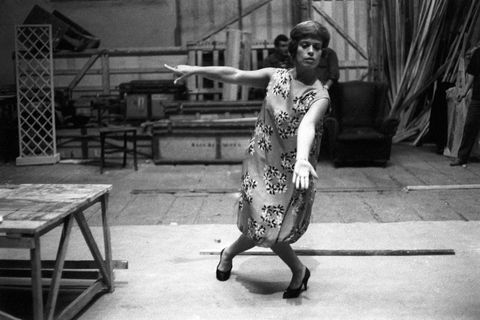the theatrical actress franca valeri improvises an odd pose as cesira, the milanese manicurist the artist gets ready to act in the recital celebrating her ten years of activity as actress, where she will perform her best known characters rome italy, september 19th, 1958 photo by mondadori via getty images