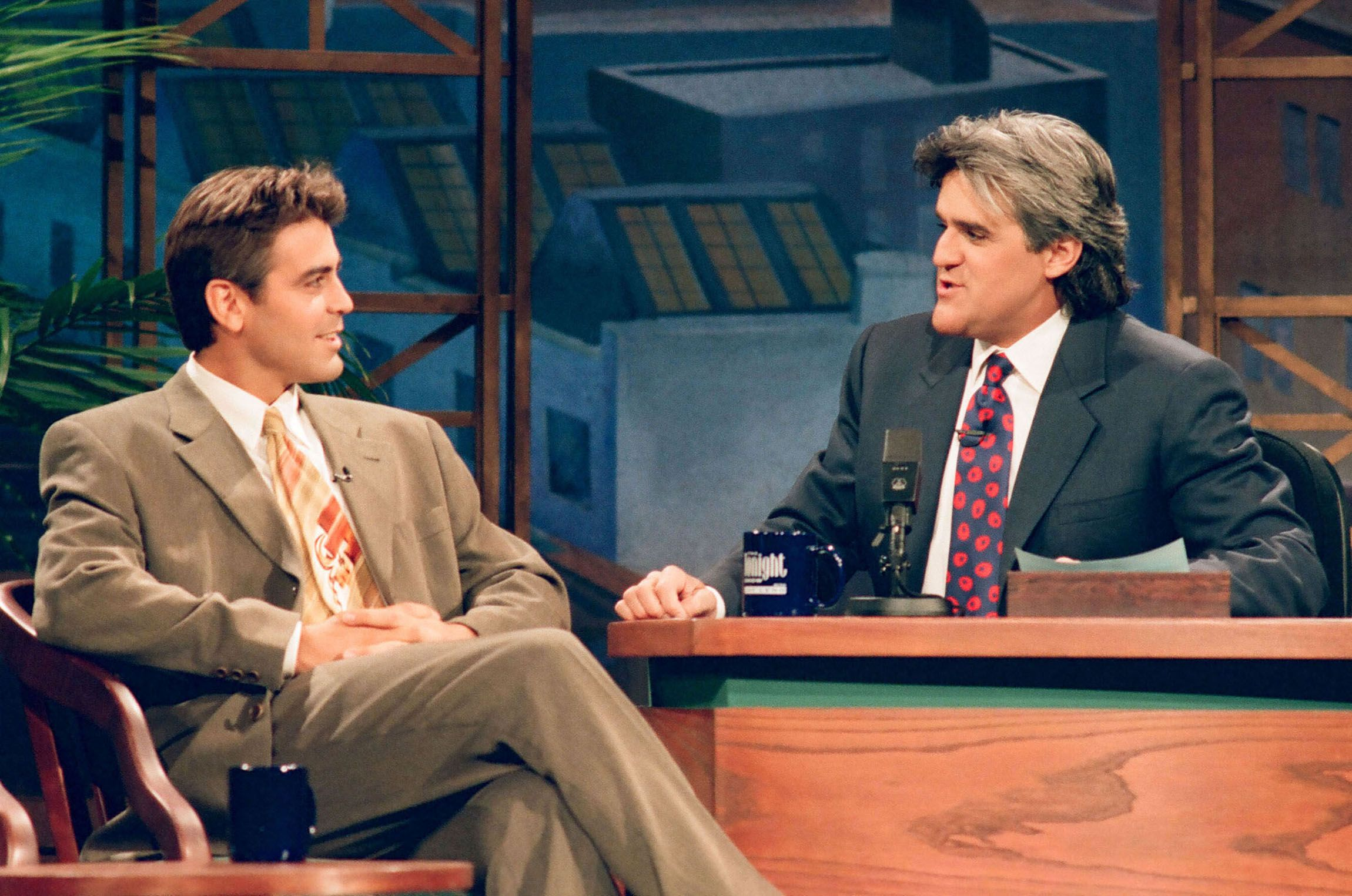 Clooney during an interview with host Jay Leno on November 24, 1994.