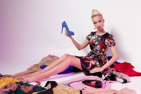 Fashion, Beauty, Fashion design, Pink, Leg, Footwear, Sitting, Dress, Photo shoot, Photography,