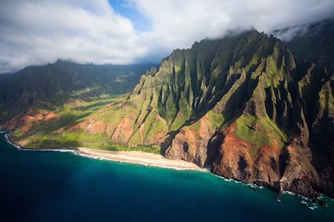 scenic views of kauai from above the napali coastline is the most iconic and remonte destination on kauai
