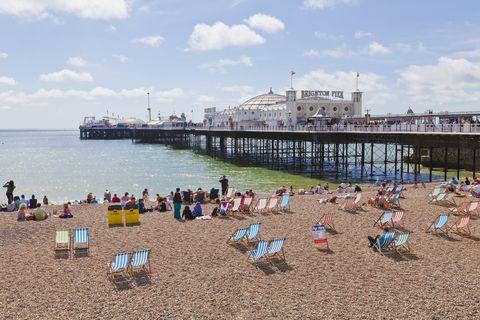 Beach, People on beach, Coast, Pier, Shore, Sea, Sand, Vacation, Tourism, Ocean,