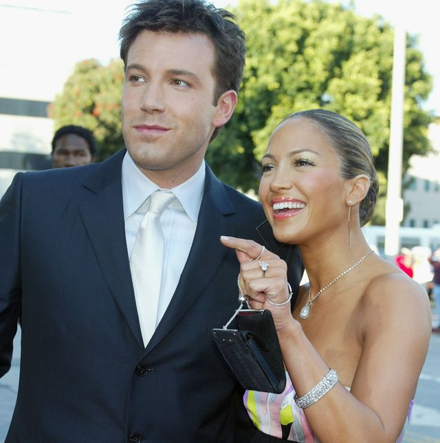 los angeles   february 9  actor ben affleck l and his fiance actresssinger jennifer lopez arrive at the premiere of daredevil at the village theatre on february 9, 2003 in los angeles, california photo by kevin wintergetty images