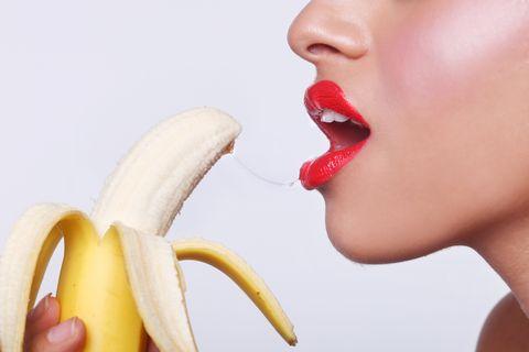 Banana family, Banana, Lip, Nose, Mouth, Skin, Fruit, Tooth, Neck, Chin,