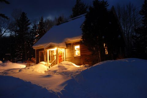 Snow, Winter, Home, House, Property, Sky, Light, Lighting, Tree, Cottage,