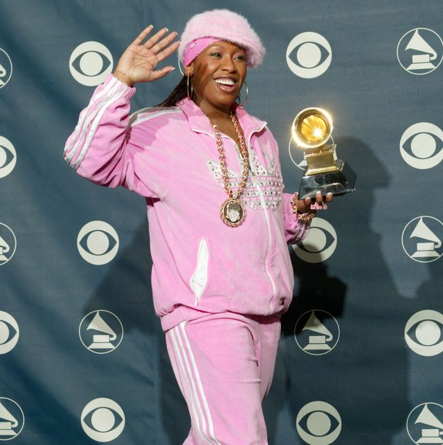 new york   february 23  winner for best female rap solo performance, missy elliot, poses backstage during the 45th annual grammy awards at the madison square garden on february 23, 2003 in new york city  photo by scott griesgetty images