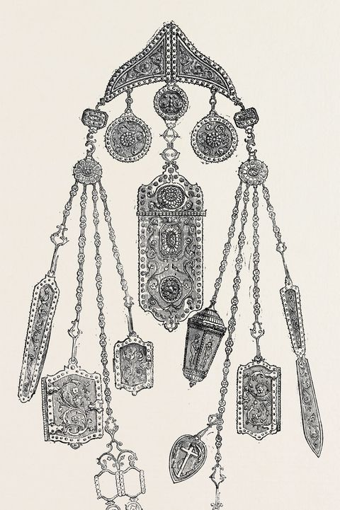 chatelaine , france , belt , women in 18th century france wore chatelaines to hold their keys and other valuables