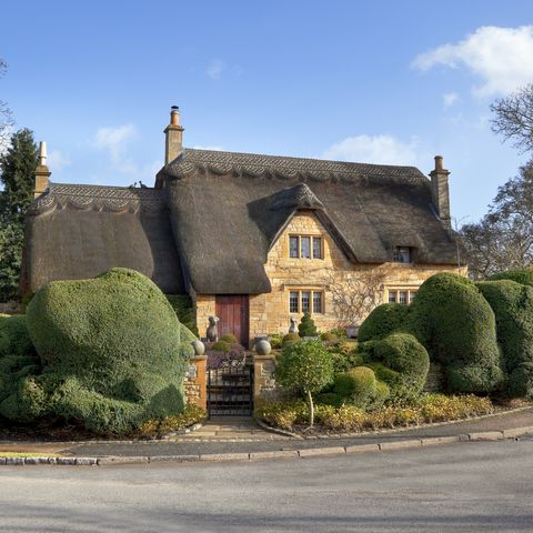 beautiful cotswold, honey coloured, thatched cottage, chipping campden, gloucestershire, england