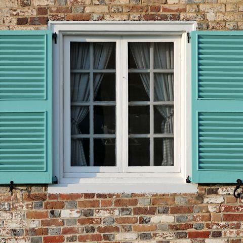 Window, Blue, Green, Turquoise, Wall, Property, Azure, Brick, Brickwork, House,